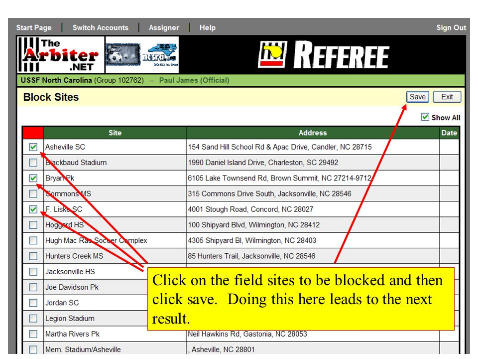 Click on the field sites to be blocked and then click save. Doing this here leads to the next result.