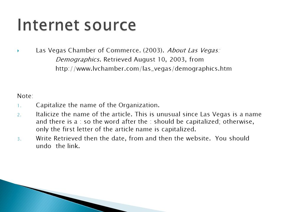  Las Vegas Chamber of Commerce. (2003). About Las Vegas: Demographics.