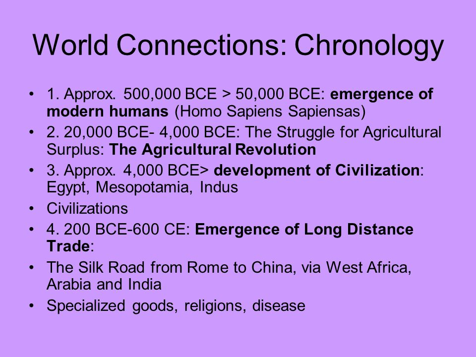World Connections: Chronology 1. Approx.