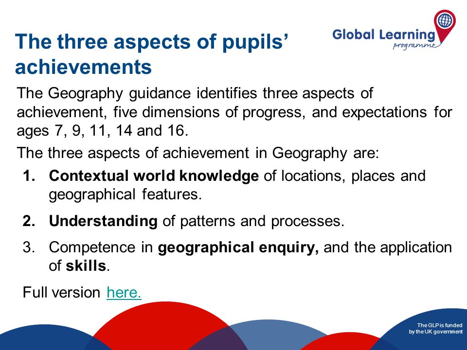 The GLP is funded by the UK government The three aspects of pupils' achievements The Geography guidance identifies three aspects of achievement, five dimensions of progress, and expectations for ages 7, 9, 11, 14 and 16.