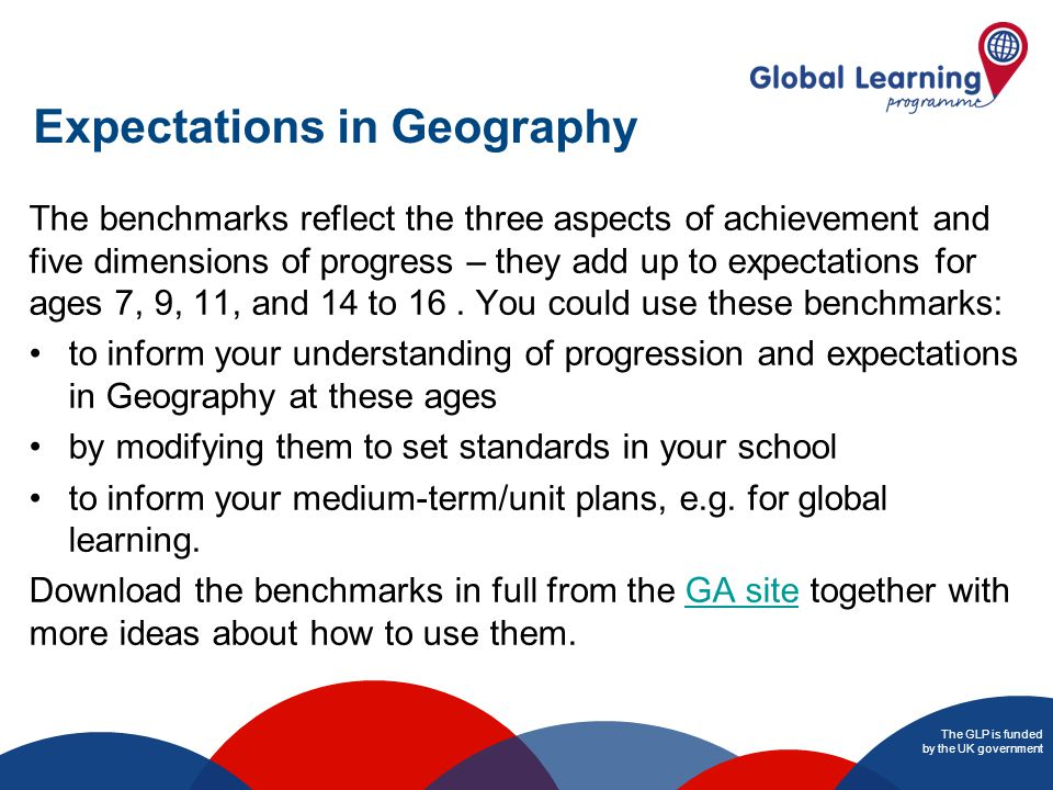 The GLP is funded by the UK government Expectations in Geography The benchmarks reflect the three aspects of achievement and five dimensions of progress – they add up to expectations for ages 7, 9, 11, and 14 to 16.