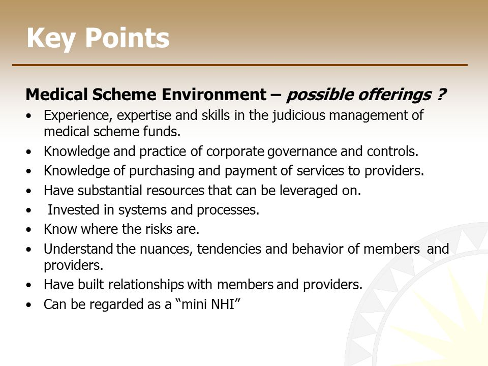 Key Points Medical Scheme Environment – possible offerings .