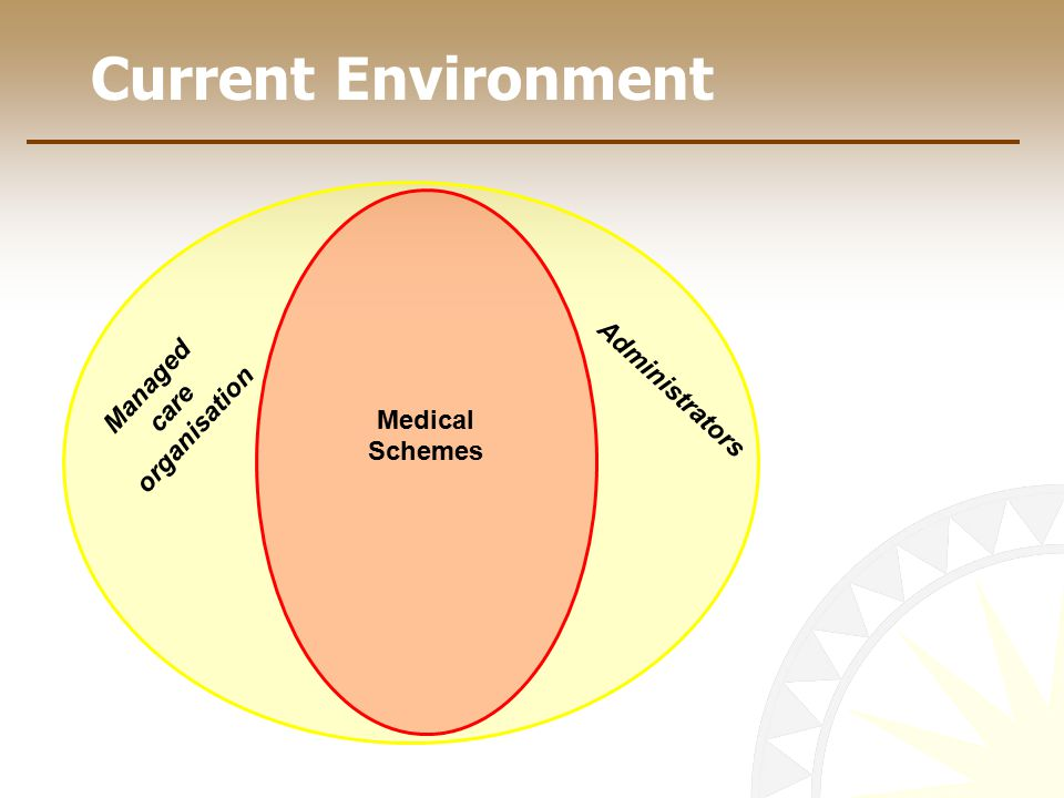 Current Environment Medical Schemes Managed care organisation Administrators