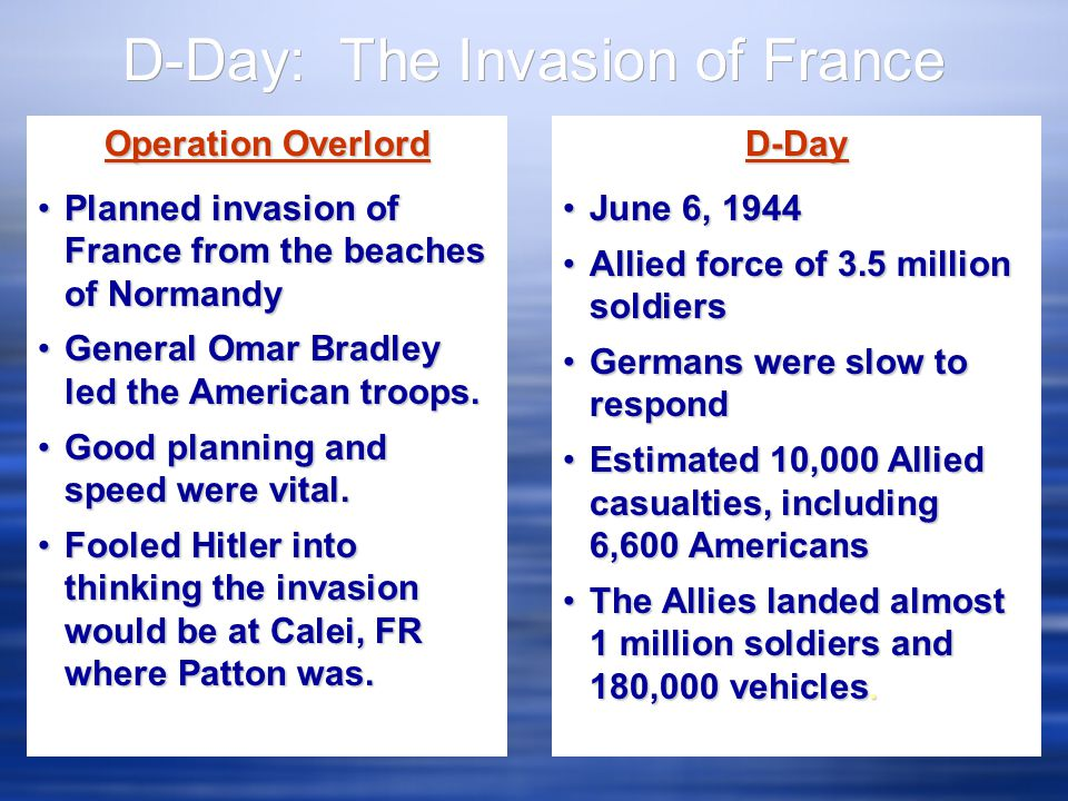 Operation Overlord Planned invasion of France from the beaches of NormandyPlanned invasion of France from the beaches of Normandy General Omar Bradley