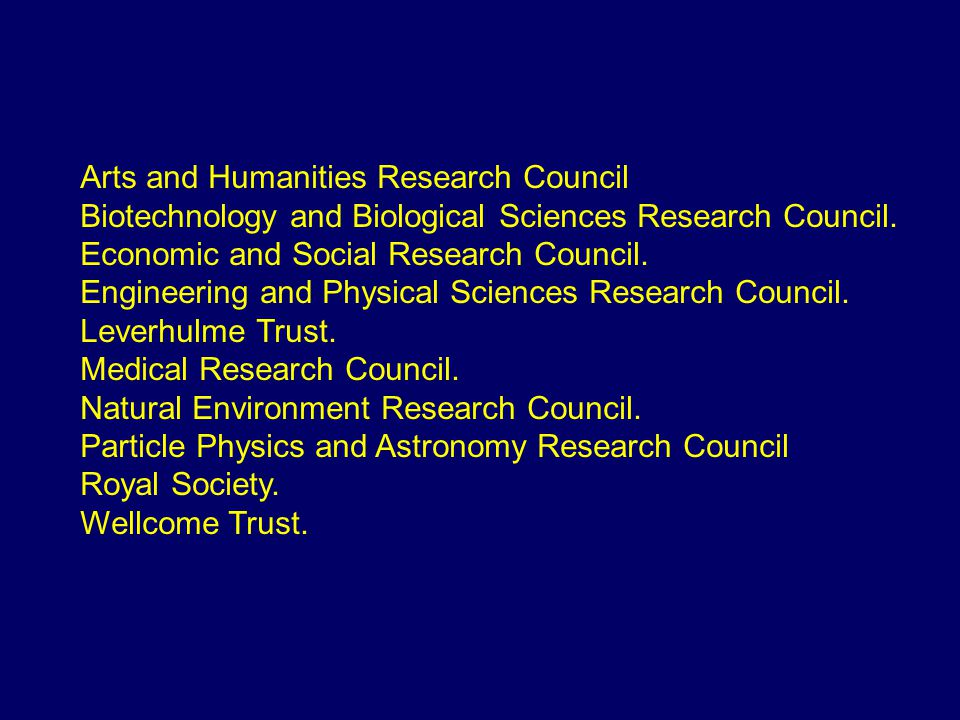 Arts and Humanities Research Council Biotechnology and Biological Sciences Research Council.