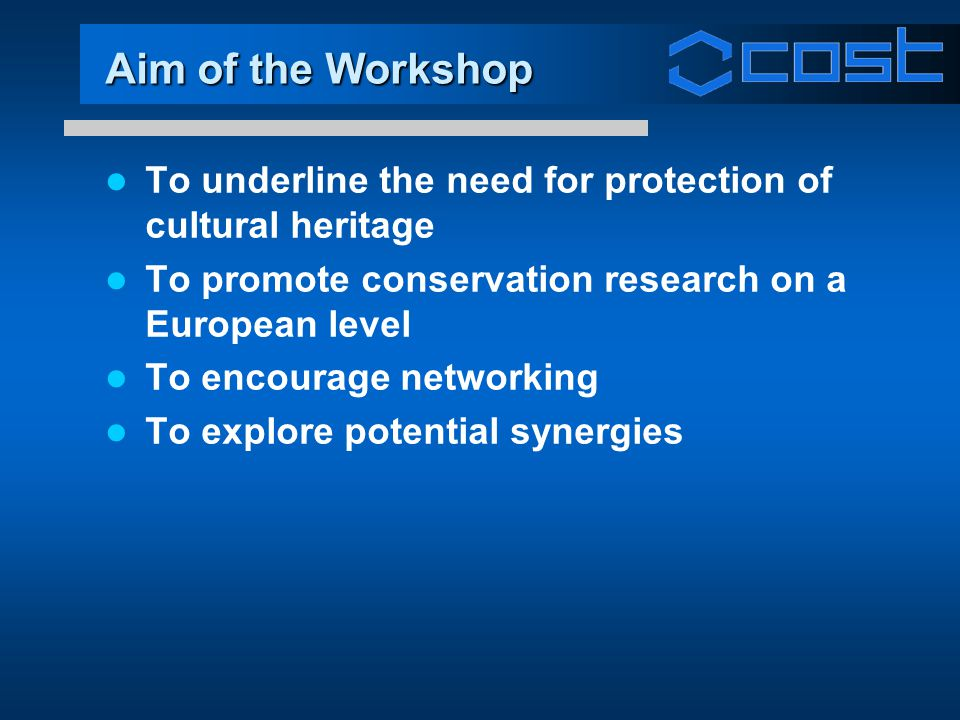 Aim of the Workshop To underline the need for protection of cultural heritage To promote conservation research on a European level To encourage networ