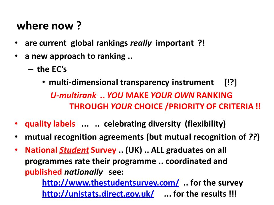 where now . are current global rankings really important .