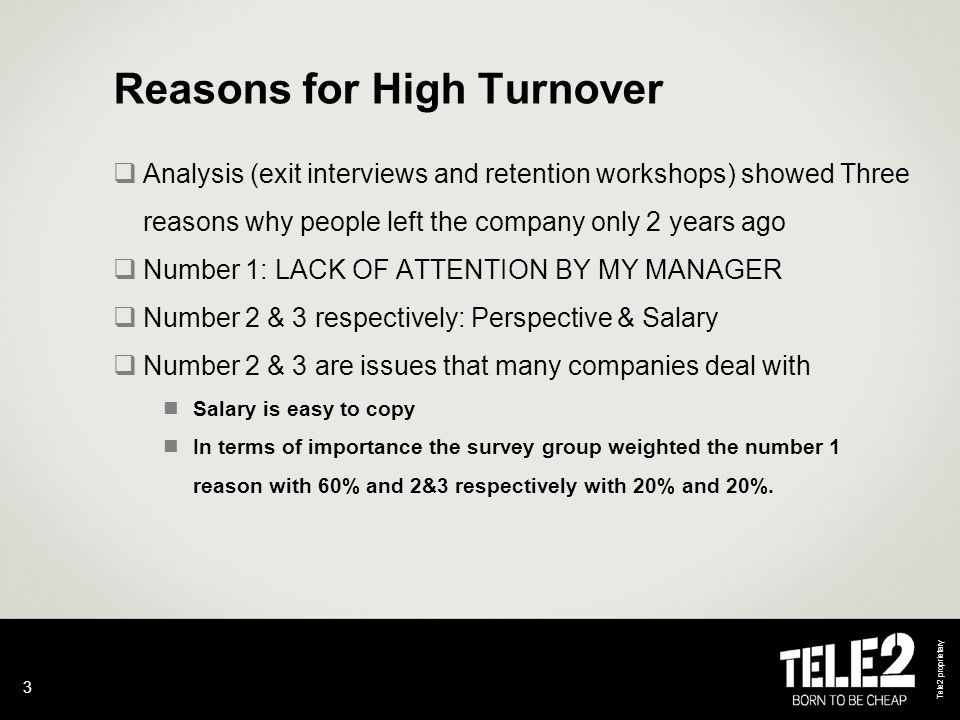 Tele2 proprietary 3 Reasons for High Turnover  Analysis (exit interviews and retention workshops) showed Three reasons why people left the company only 2 years ago  Number 1: LACK OF ATTENTION BY MY MANAGER  Number 2 & 3 respectively: Perspective & Salary  Number 2 & 3 are issues that many companies deal with Salary is easy to copy In terms of importance the survey group weighted the number 1 reason with 60% and 2&3 respectively with 20% and 20%.