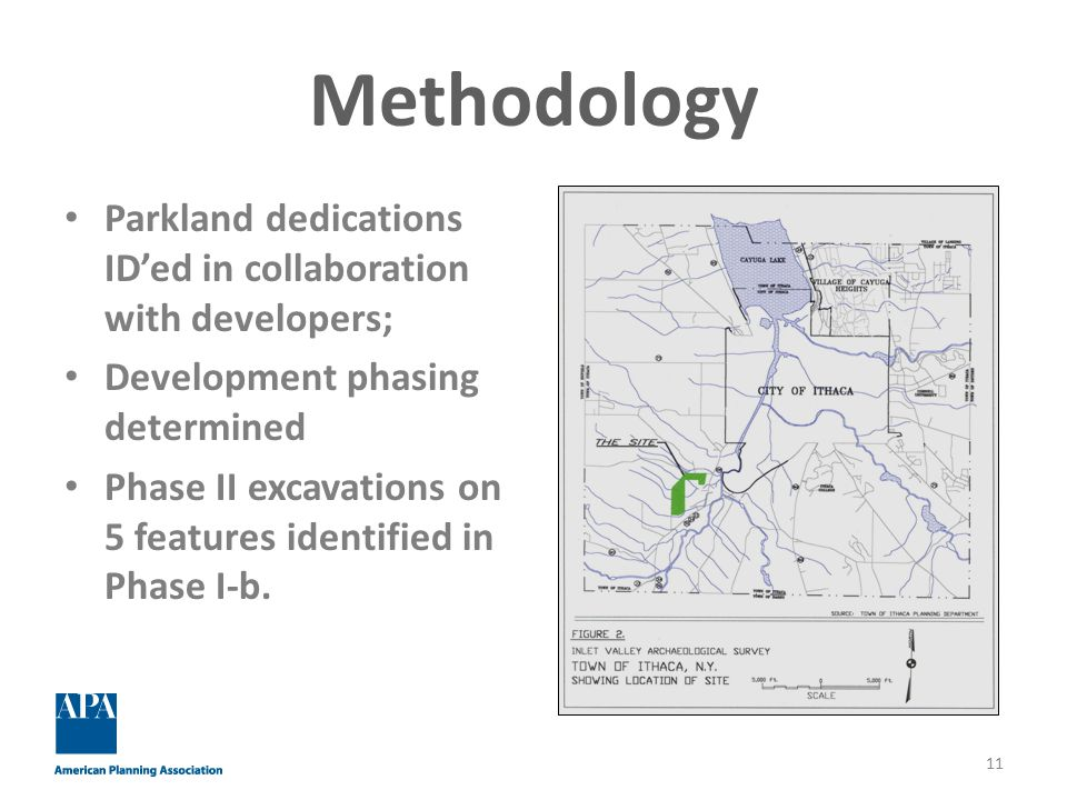 Methodology Parkland dedications ID'ed in collaboration with developers; Development phasing determined Phase II excavations on 5 features identified in Phase I-b.