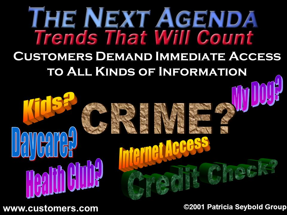 Customers Demand Immediate Access to All Kinds of Information ©2001 Patricia Seybold Group www.customers.com