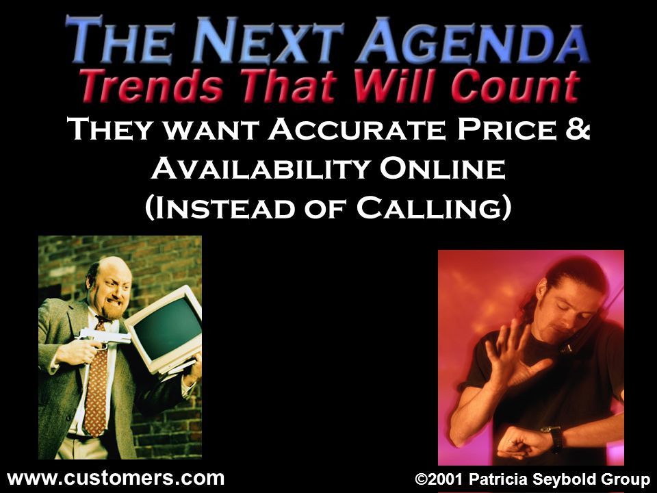 They want Accurate Price & Availability Online (Instead of Calling) ©2001 Patricia Seybold Group www.customers.com