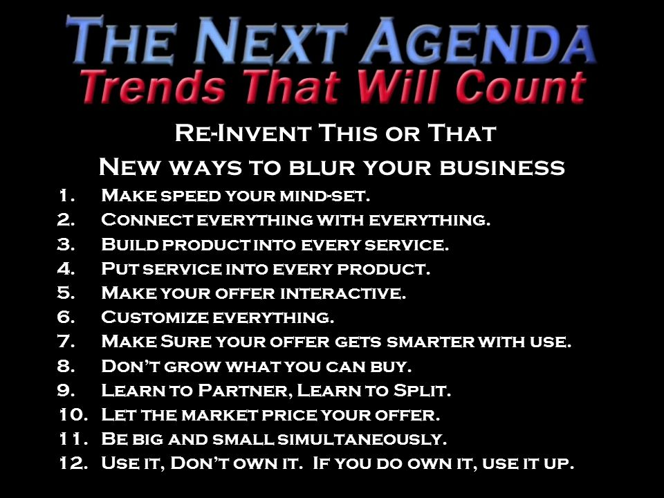 Re-Invent This or That New ways to blur your business 1.Make speed your mind-set.