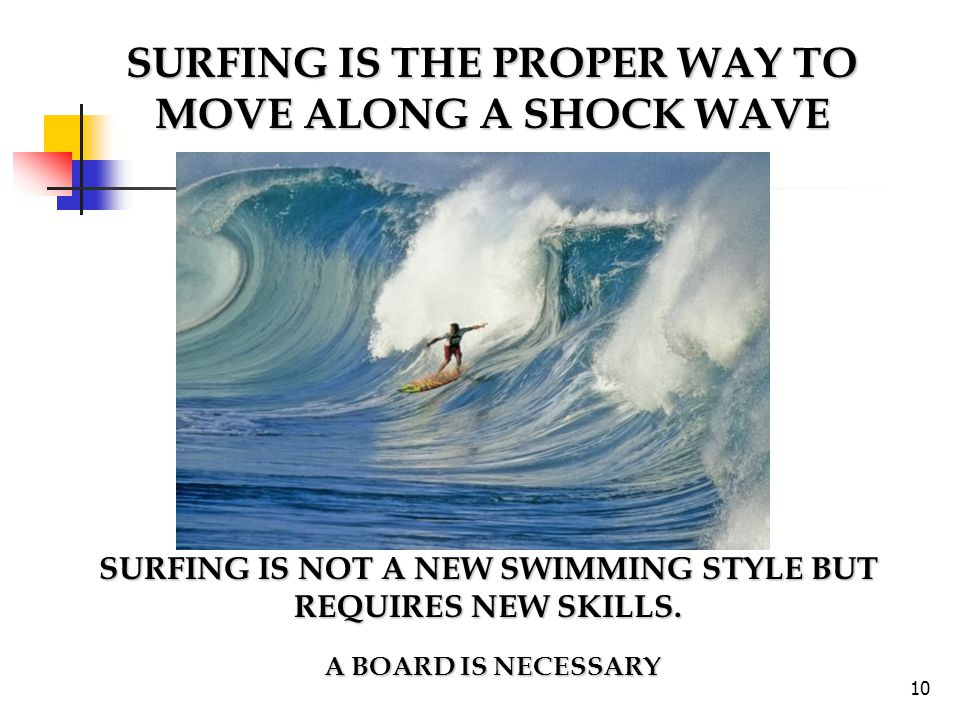 SURFING IS THE PROPER WAY TO MOVE ALONG A SHOCK WAVE SURFING IS NOT A NEW SWIMMING STYLE BUT REQUIRES NEW SKILLS. A BOARD IS NECESSARY A BOARD IS NECE