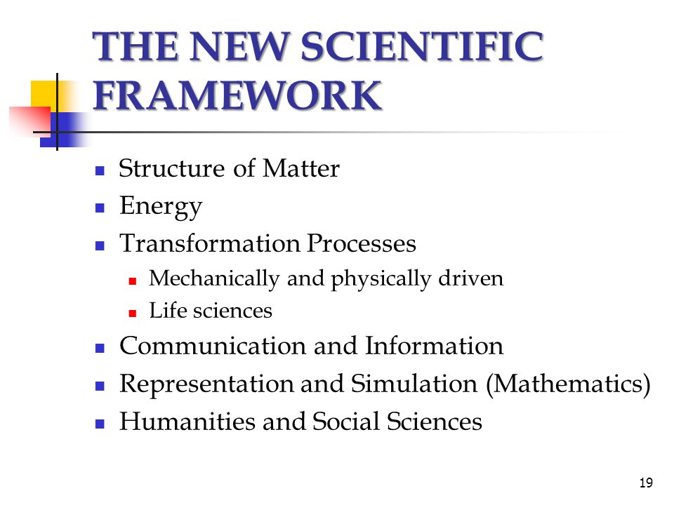 THE NEW SCIENTIFIC FRAMEWORK Structure of Matter Energy Transformation Processes Mechanically and physically driven Life sciences Communication and Information Representation and Simulation (Mathematics) Humanities and Social Sciences 19