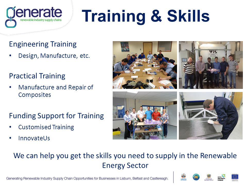 Training & Skills Engineering Training Design, Manufacture, etc. Practical Training Manufacture and Repair of Composites Funding Support for Training