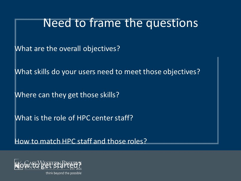 Need to frame the questions What are the overall objectives? What skills do your users need to meet those objectives? Where can they get those skills?