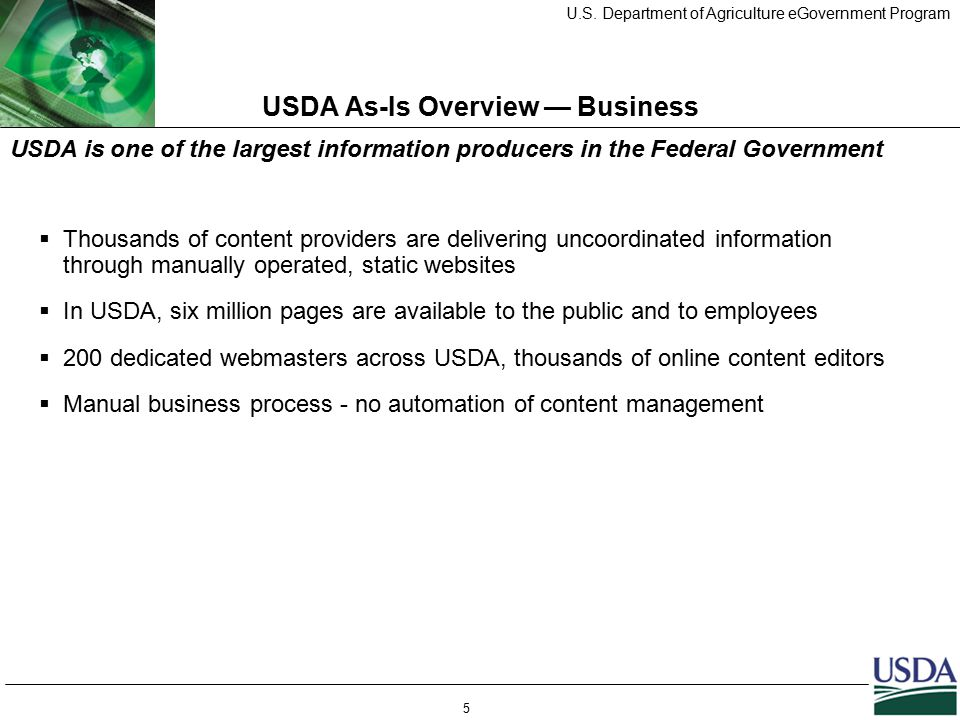 U.S. Department of Agriculture eGovernment Program 5 USDA As-Is Overview — Business  Thousands of content providers are delivering uncoordinated info