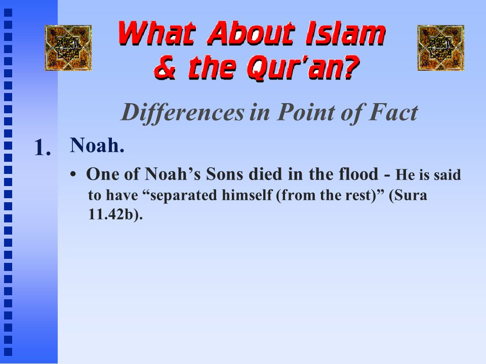 Differences in Point of Fact Noah.