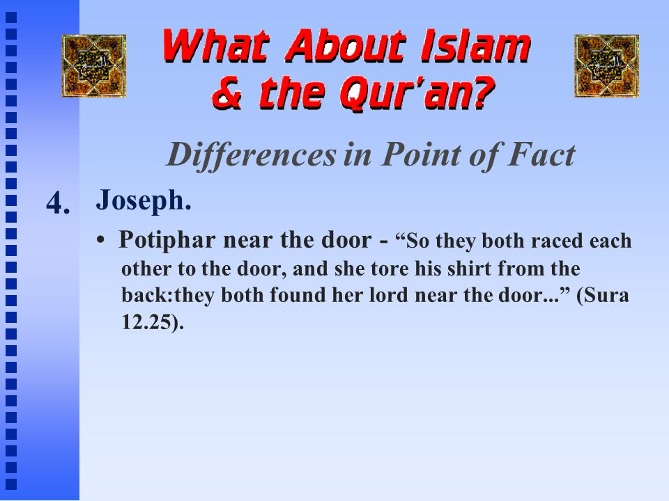 Differences in Point of Fact Joseph.