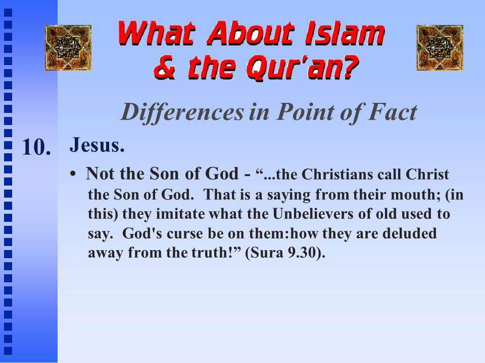Differences in Point of Fact Jesus.