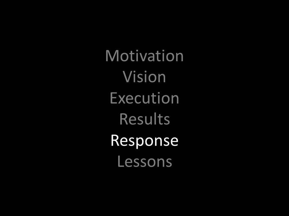 Motivation Vision Execution Results Response Lessons