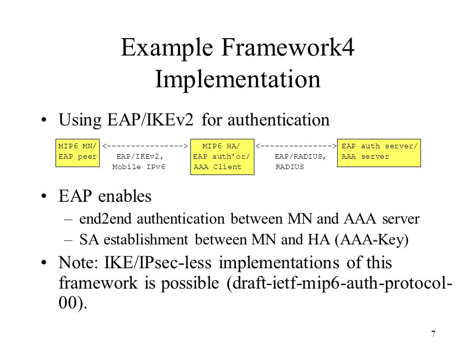 7 Example Framework4 Implementation Using EAP/IKEv2 for authentication MIP6 MN/ MIP6 HA/ EAP auth server/ EAP peer EAP/IKEv2, EAP auth'or/ EAP/RADIUS,