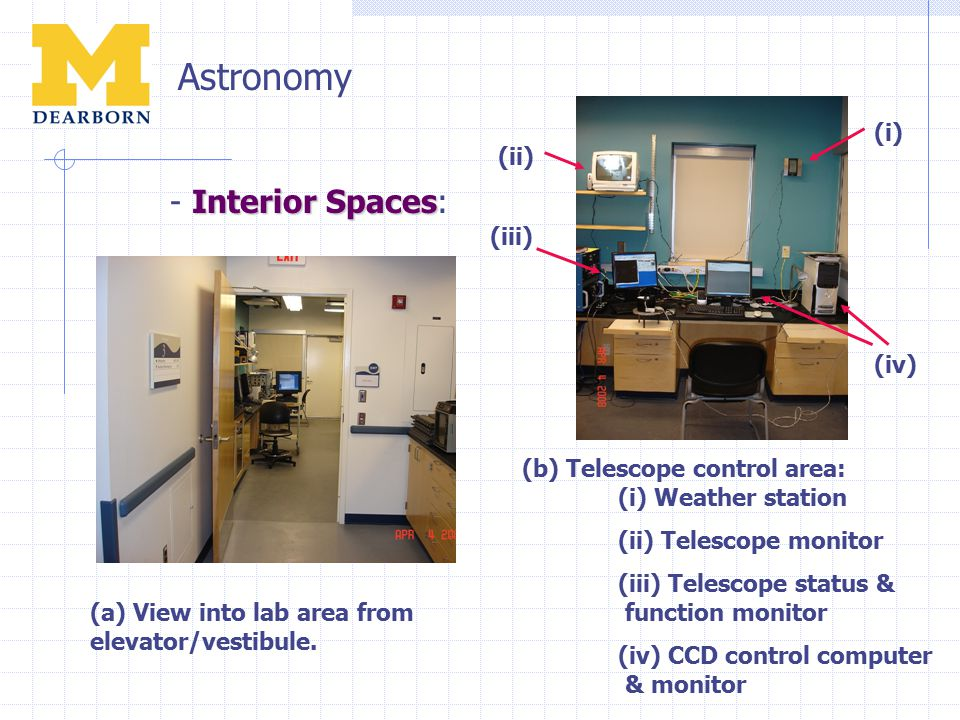 Astronomy Interior Spaces - Interior Spaces: (a) View into lab area from elevator/vestibule.