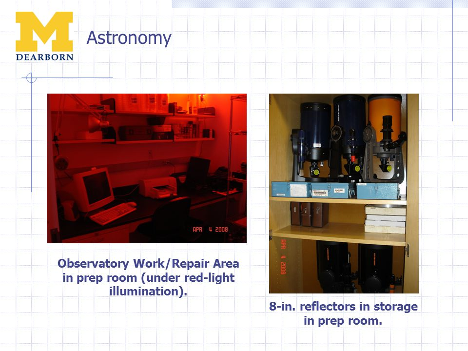 Astronomy Observatory Work/Repair Area in prep room (under red-light illumination).