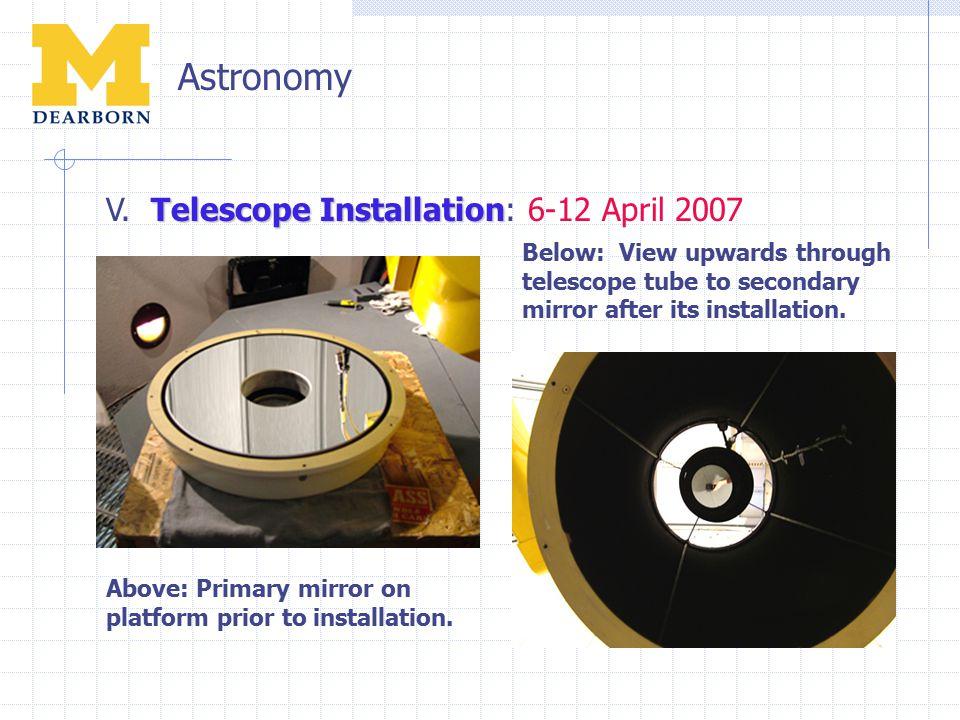 Astronomy Telescope Installation V. Telescope Installation: 6-12 April 2007 Above: Primary mirror on platform prior to installation. Below: View upwar