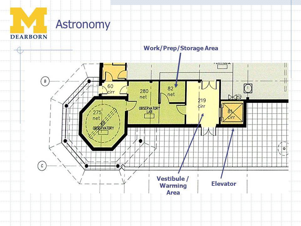 Astronomy Elevator Vestibule / Warming Area Work/Prep/Storage Area