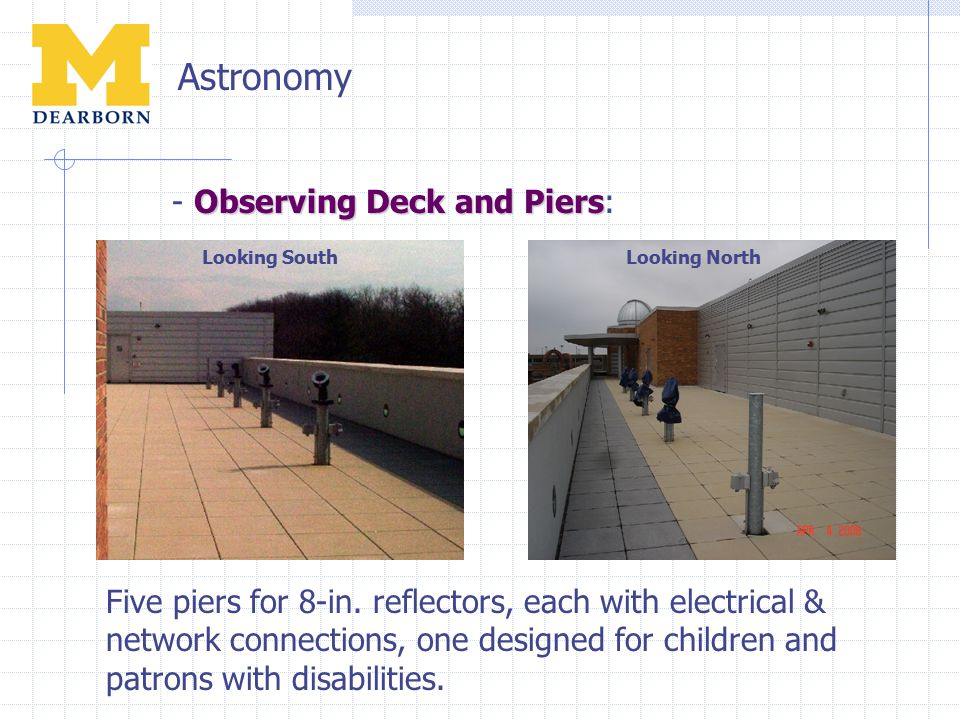 Astronomy Observing Deck and Piers - Observing Deck and Piers: Five piers for 8-in. reflectors, each with electrical & network connections, one design
