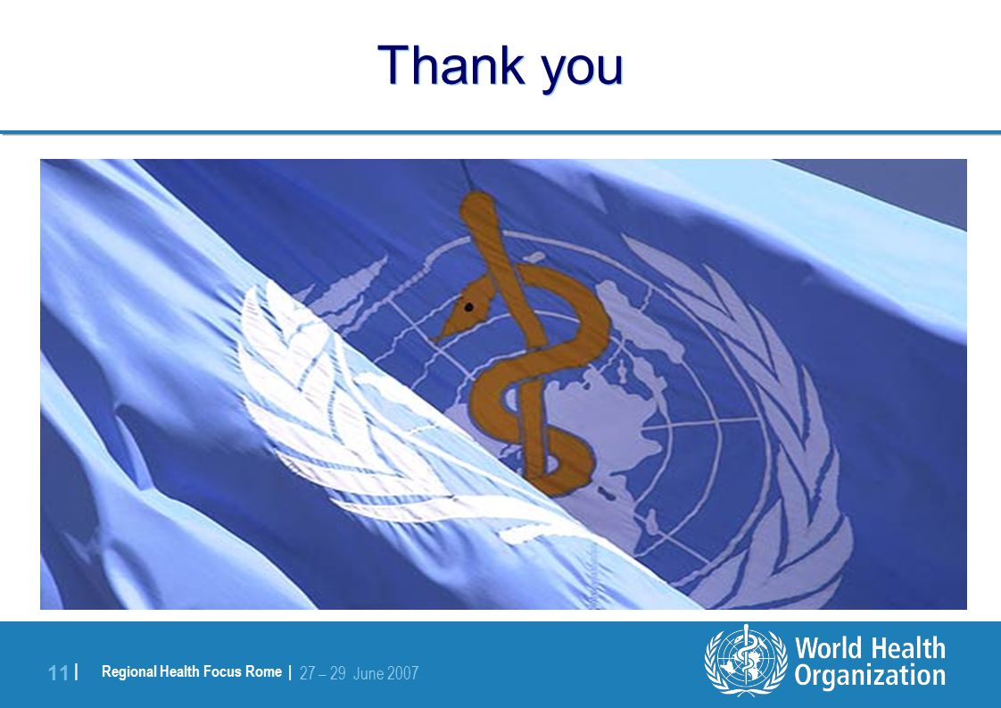 Regional Health Focus Rome | 27 – 29 June | Thank you