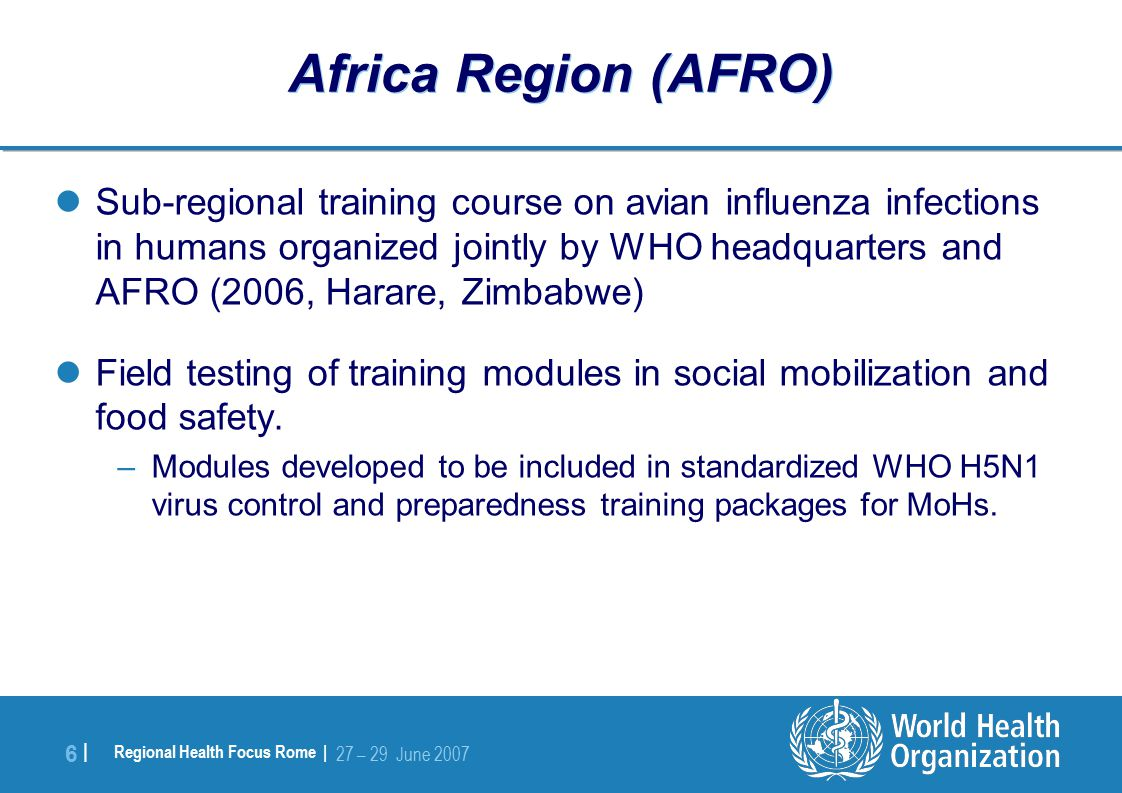 Regional Health Focus Rome | 27 – 29 June |6 | Africa Region (AFRO) Sub-regional training course on avian influenza infections in humans organized jointly by WHO headquarters and AFRO (2006, Harare, Zimbabwe) Field testing of training modules in social mobilization and food safety.
