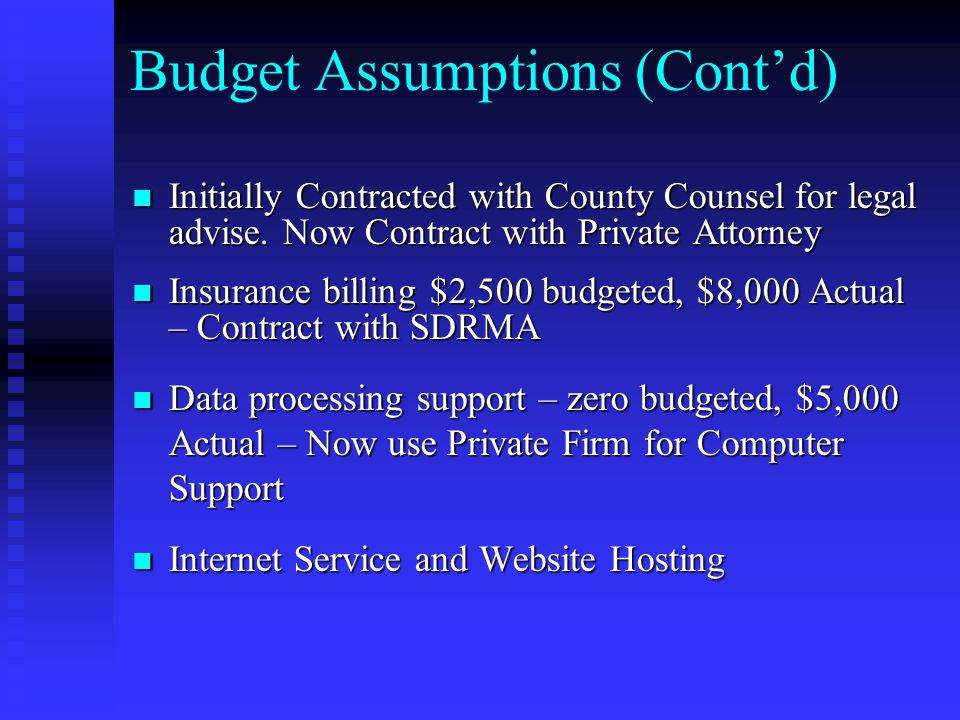 Budget Assumptions (Cont'd) Initially Contracted with County Counsel for legal advise.