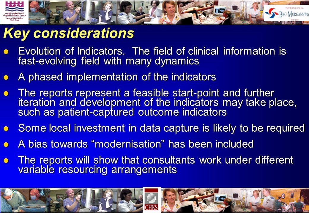 Key considerations l Evolution of Indicators.