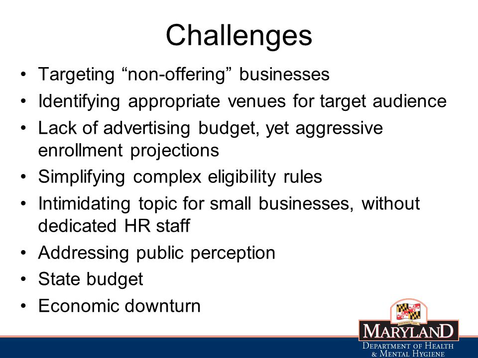 Challenges Targeting non-offering businesses Identifying appropriate venues for target audience Lack of advertising budget, yet aggressive enrollment projections Simplifying complex eligibility rules Intimidating topic for small businesses, without dedicated HR staff Addressing public perception State budget Economic downturn