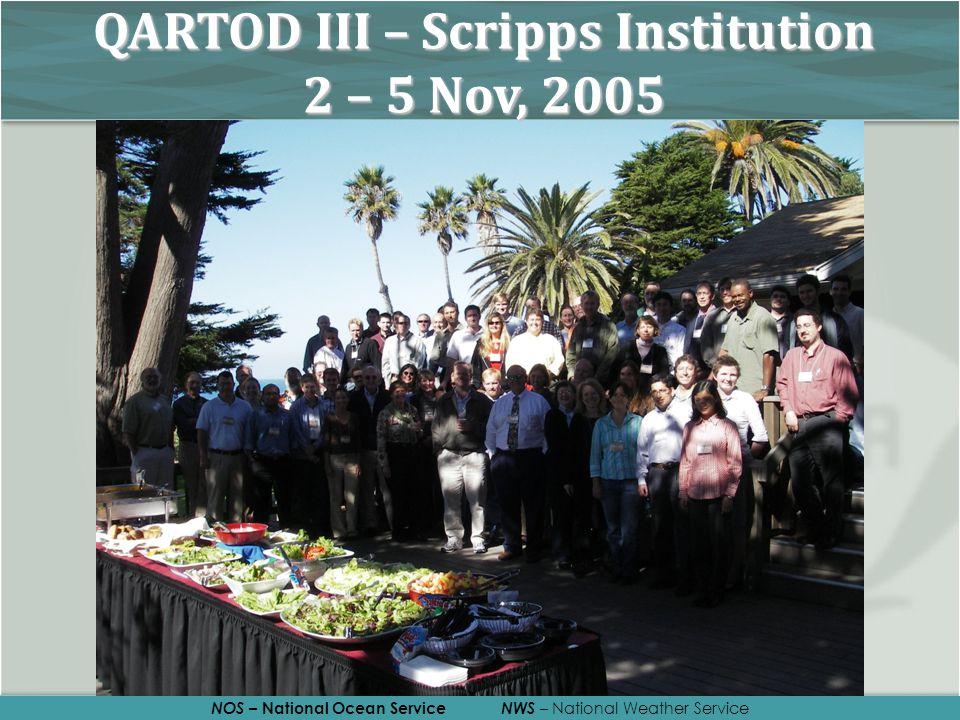 NOS – National Ocean Service NWS – National Weather Service QARTOD III – Scripps Institution 2 – 5 Nov, 2005