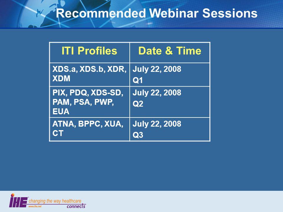 Recommended Webinar Sessions ITI ProfilesDate & Time XDS.a, XDS.b, XDR, XDM July 22, 2008 Q1 PIX, PDQ, XDS-SD, PAM, PSA, PWP, EUA July 22, 2008 Q2 ATNA, BPPC, XUA, CT July 22, 2008 Q3