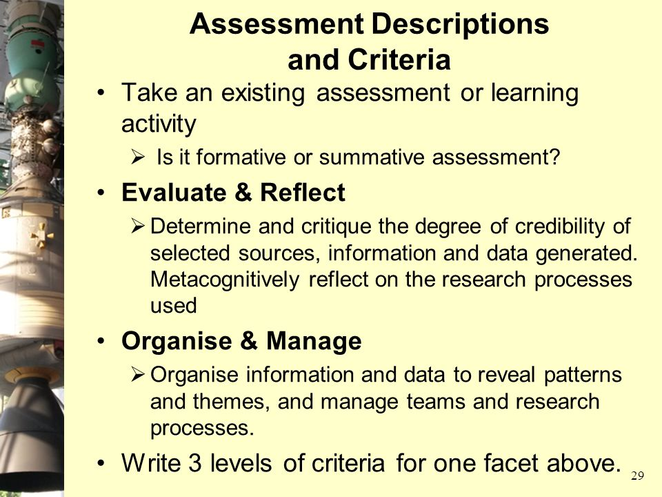 Assessment Descriptions and Criteria Take an existing assessment or learning activity  Is it formative or summative assessment? Evaluate & Reflect 