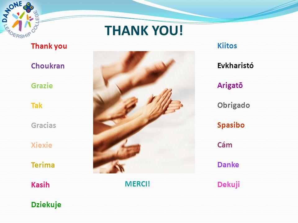 Thank you Choukran Grazie Tak Gracias Xiexie Terima Kasih Dziekuje Kiitos Evkharistó Arigatō Obrigado Spasibo Cám Danke Dekuji MERCI.