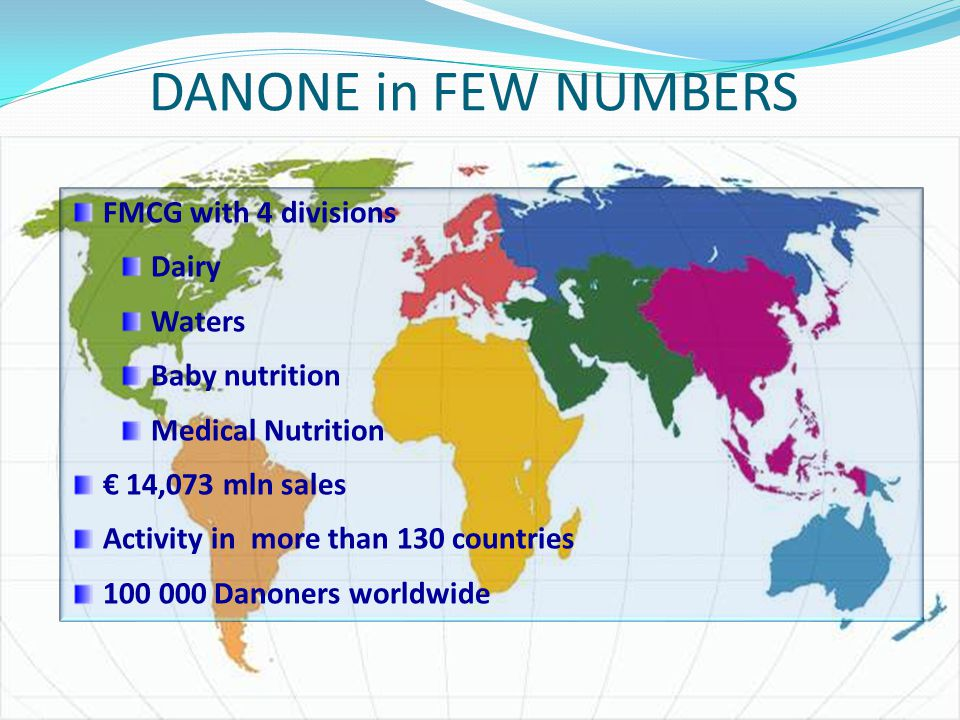 DANONE in FEW NUMBERS FMCG with 4 divisions Dairy Waters Baby nutrition Medical Nutrition € 14,073 mln sales Activity in more than 130 countries 100 0