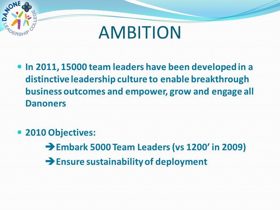 AMBITION In 2011, 15000 team leaders have been developed in a distinctive leadership culture to enable breakthrough business outcomes and empower, gro