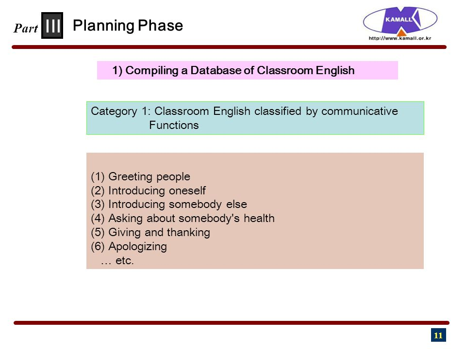 11 III Part 1) Compiling a Database of Classroom English Planning Phase (1) Greeting people (2) Introducing oneself (3) Introducing somebody else (4) Asking about somebody s health (5) Giving and thanking (6) Apologizing … etc.