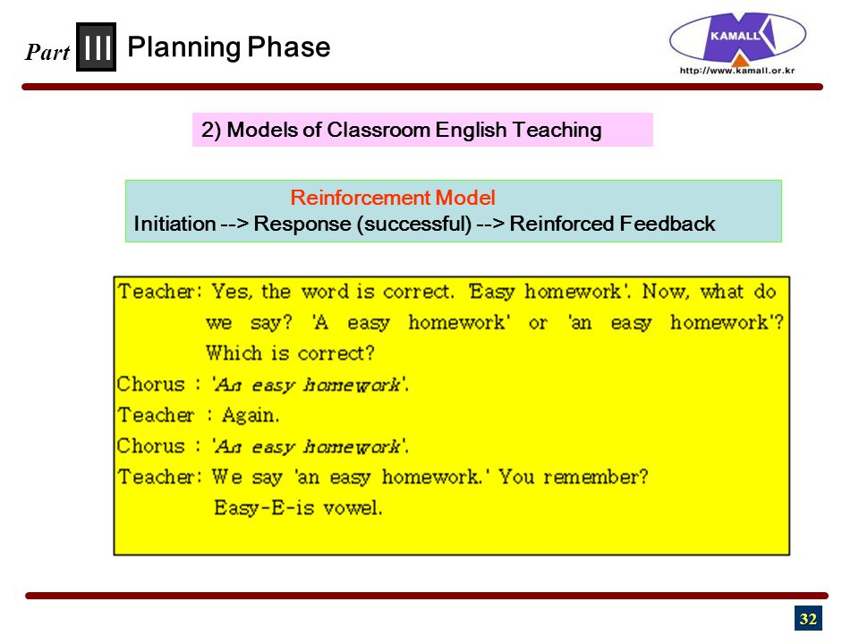 32 III Part 2) Models of Classroom English Teaching Planning Phase Reinforcement Model Initiation --> Response (successful) --> Reinforced Feedback