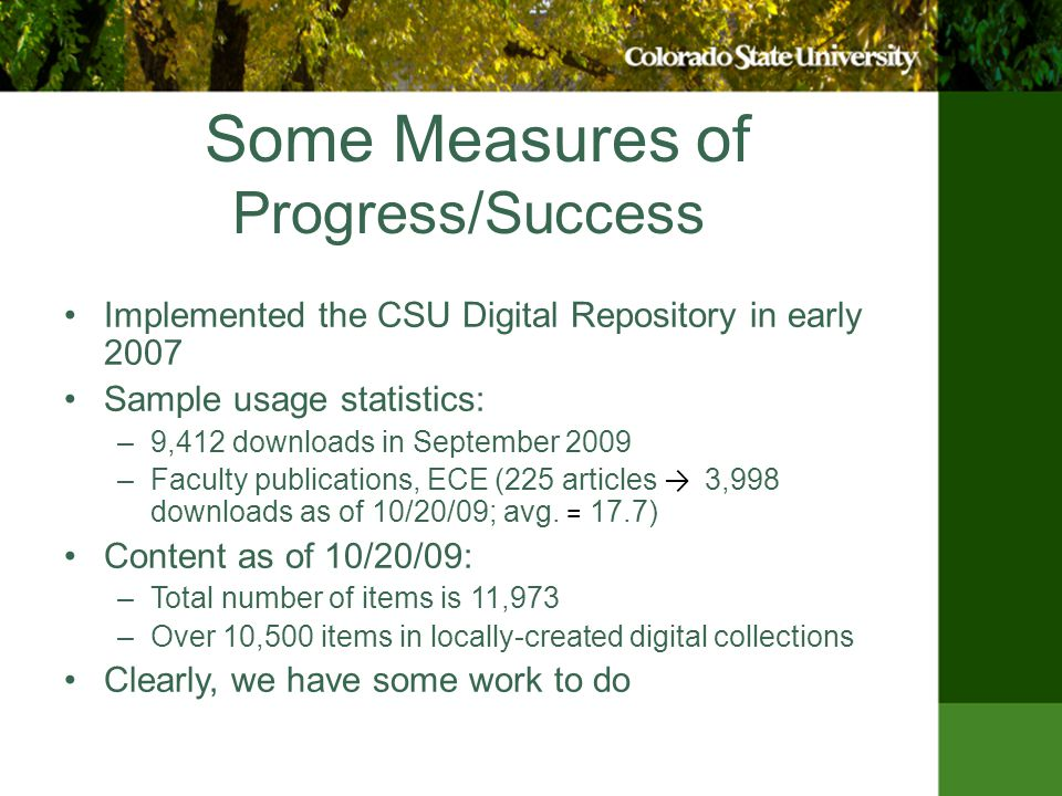 Strategies for Repository Development: Action Items Highest priority: –Appoint new AD for Digital Services –Accelerate ETD pilot program to completion, conversion to full program –Review existing policies, update, augment as necessary, identify need for additional policies, get feedback from campus –Develop procedures and tools Intuitive user interface for self-deposit, metadata capture
