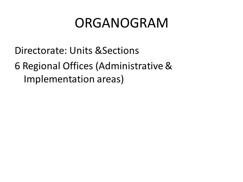 ORGANOGRAM Directorate: Units &Sections 6 Regional Offices (Administrative & Implementation areas)