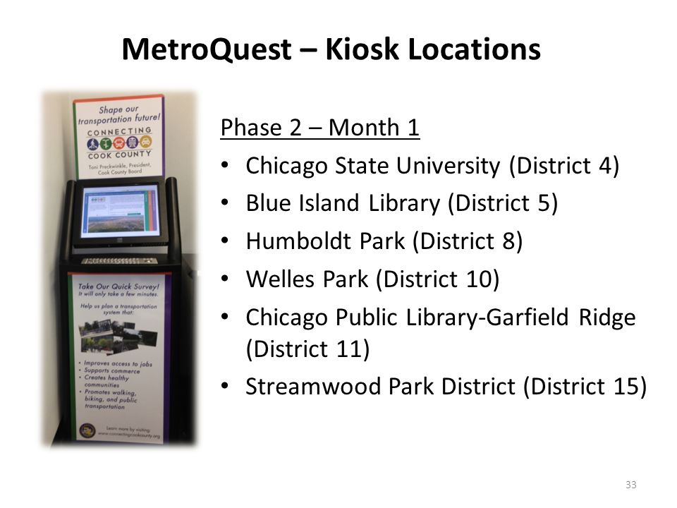Phase 2 – Month 1 Chicago State University (District 4) Blue Island Library (District 5) Humboldt Park (District 8) Welles Park (District 10) Chicago