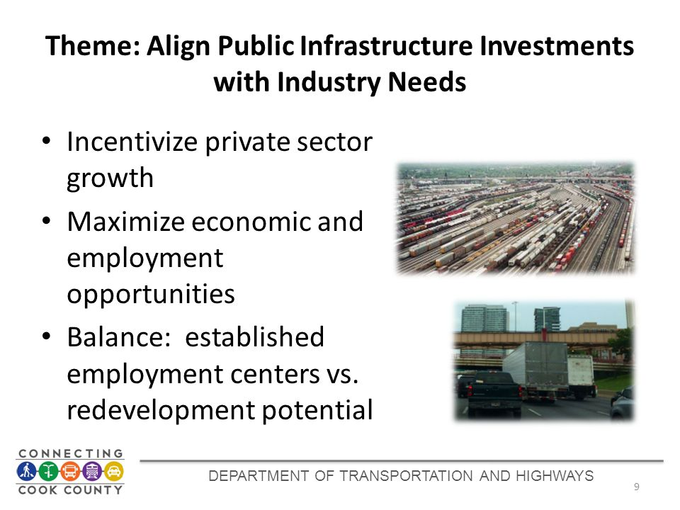 Theme: Align Public Infrastructure Investments with Industry Needs Incentivize private sector growth Maximize economic and employment opportunities Ba