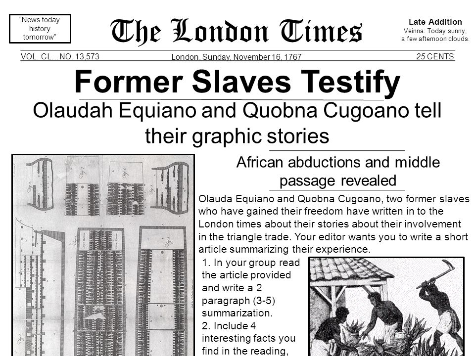 Olaudah Equiano Quobna Cugoano Slave Narratives