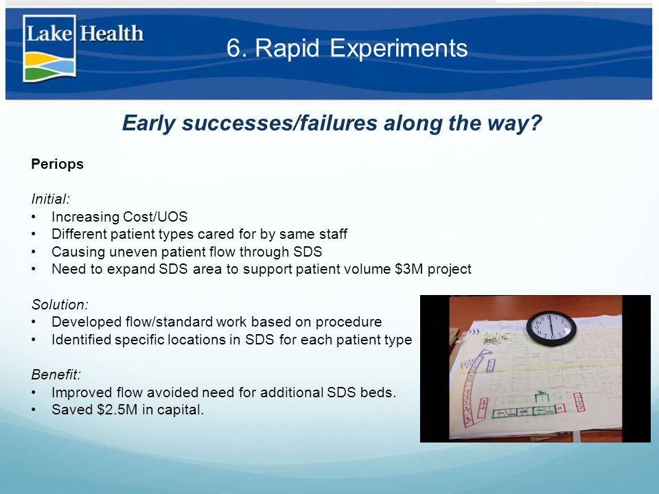 6. Rapid Experiments Early successes/failures along the way.